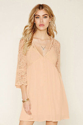 Forever 21 Pink Blush Floral Lace Combo Dress 3/4 Bell Sleeves Large L