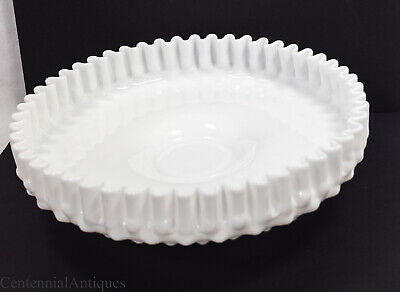 Fenton - Milk Glass - Hobnail - Shallow Footed Bowl - Pie Crust Edge - 10""