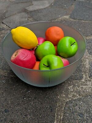 Realistic Display French Glass Punch Bowl & Replica Plastic Fruit 12 Piece set