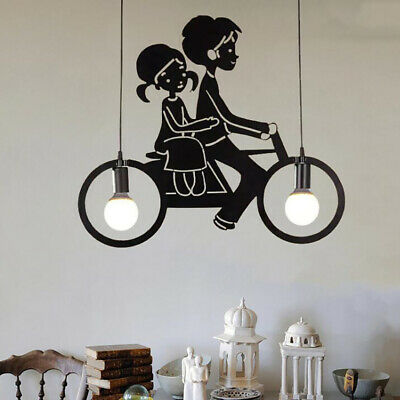 Pendent Lamps Bicycle Modern Wrought Iron Chandelier LED Hanging Line Lampshade