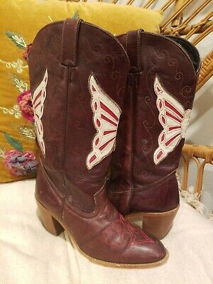b63299c7562 VINTAGE DINGO BROWN LEATHER Cowboy Boots with Red Butterfly Inlay Womens SZ  7.5