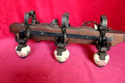 Vintage French Handmade Wooden Iron Chandelier/Lamp Ceiling 6 Lights chateau