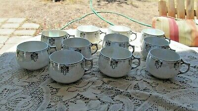 """Silverite China Bavaria Ohme Colonial Art Deco Iridescent  11 Cups Only 2 1/4""""h"""