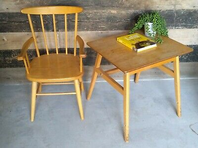 Vintage Childs Mid Century Ercol Style Chair & Table - Blonde Wood