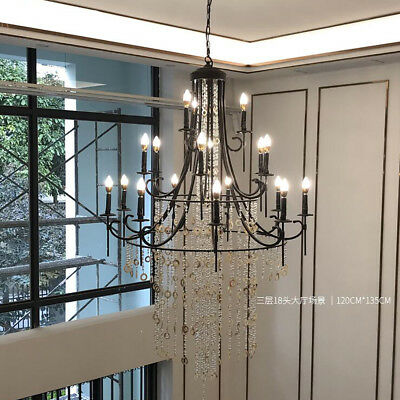Wrought Iron Double layer Crystal Candle Chandelier Villa Pendent Lamps Shade