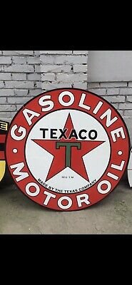 "Large Double Sided Texaco Gasoline Motor Oil 42"" Round Porcelain Sign"