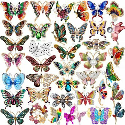Vintage Rhinestone Crystal Animals Butterfly Insects Brooch Pin Costume Charms