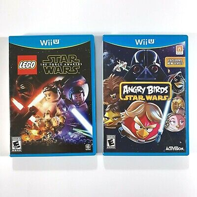 Angry Birds Star Wars &  Lego Star Wars The Force Awakens  Wii U Game Lot Of 2