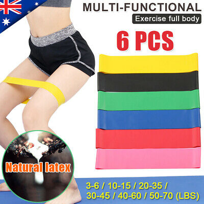 6Pcs Heavy Resistance Loop Band Exercise Yoga Strength Fitness Training Body Gym