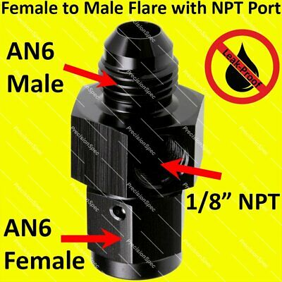"AN6 Male to 6AN Female Aluminium Fitting With 1/8"" NPT Pressure Gauge Port Black"