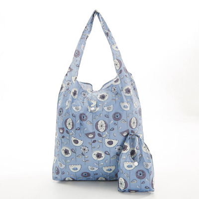 Eco-Chic Foldable Expandable Shopper Bag Grey 1950s Flower