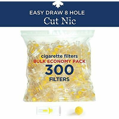 Cut-Nic 8 HOLE EASY DRAW Disposable Cigarette Filters Bulk Economy Pack (300 Per
