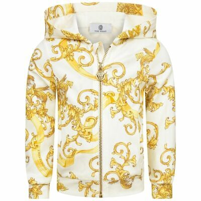 $312 young versace baby girl 3M 6M 12M 3T ivory gold greek stud zip up jacket