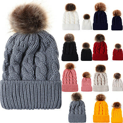Women Baby Kid Warm Winter Knit Beanie Fur Pom Bobble Hat Crochet Cap Fashion