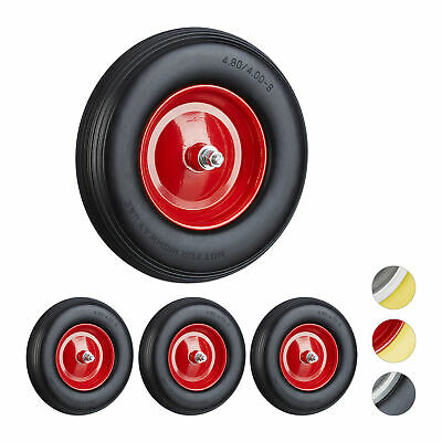 4 x Solid Rubber Wheelbarrow Tyre with Axle, Spare Tire, Steel Rim, Black-Red