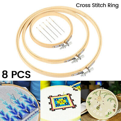 8X 10/15/20cm Wooden Cross Stitch Embroidery Hoop Ring Bamboo Sewing Needle Kit