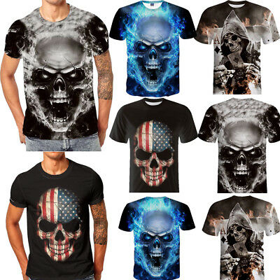 Fashion hommes Casual crâne 3D impression Tees Shirt manches courtes T-Shirt