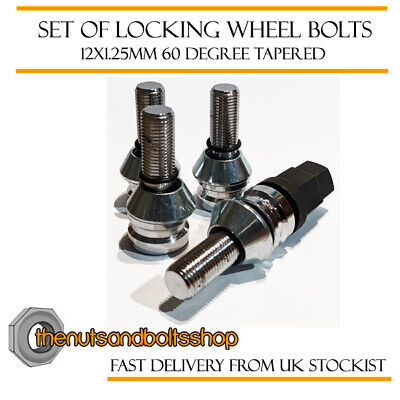 Wobbly Variation Locking Wheel Bolts 12x1.25 Nuts Tapered For Peugeot 207 06-12