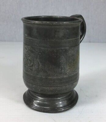 Antique Pewter 1/2 Pint Measure Tankard 10.5cm In Height