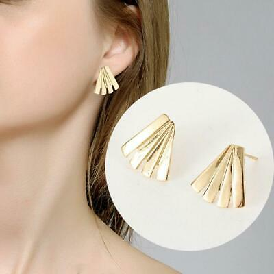 Women Vintage Ethnic Fan Shaped Tassel Drop Ear Stud Earrings Jewelry LA