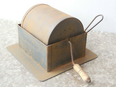 Rare Antique french tole primitive home coffee roaster with lateral sliding door