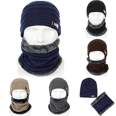 Snow Hats Women Mens Thick Warm Cap + Scarf Set Winter Unisex Knitted Beanie Hat