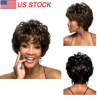 Ombre Black Brown Short Wavy Curly Style Synthetic Afro Wigs for Women With Bang