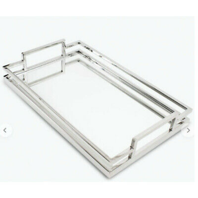Deluxe Art Deco / Industrial Mirror Tray Chrome 45 x 28 cm by Flair