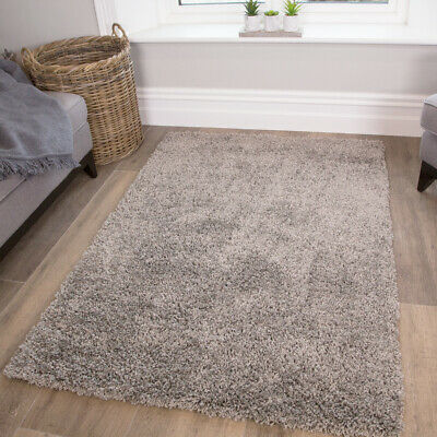Soft 5cm Thick Silver Grey Shaggy Rugs Cosy Fluffy Non Shed Cheap Bedroom Rug