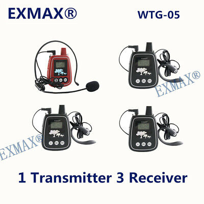 EXMAX 150M Wireless Audio Headset Tour Guide System WTG-05 For Museums Galleries