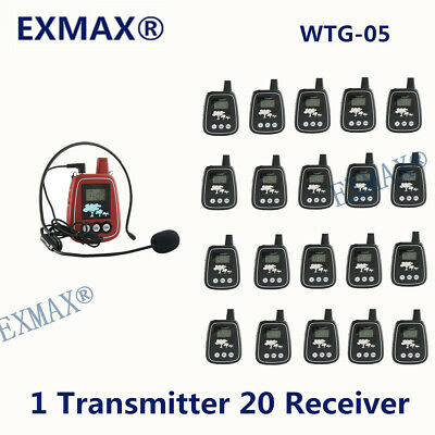 150M Wireless Audio Tour Guide System For Tour Group 1 Transmitter 20 Receiver