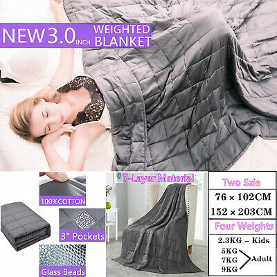 NEW 9KG Cotton Bedding Weighted Blanket Heavy Gravity Health Deep Relax Sleeping