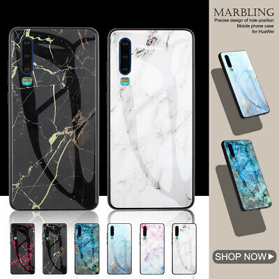 Tempered Glass Back Glossy Marble Case for Huawei P20 Lite P30 Pro Nova 3 Cover