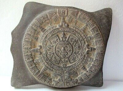 Mexican Pottery Pre Columbian Style Teotihuacan Aztec Calendar Wall Art 12""
