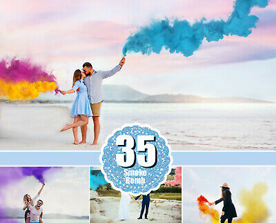 35 Smoke Bomb Overlays, Colorful Smoke fog, photo overlays, clip art, magic, png