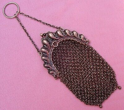 Old Vintage Victorian STERLING SILVER Chain Mesh Link Chatelaine Ring Coin Purse