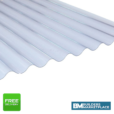 """Plastic Roofing Sheets Clear Corrugated Plastic Roofing Sheets 3"""" Profile"""