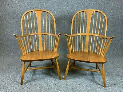 2 Ercol Blonde Windsor Chairs 1960's Elm Retro Vintage - Delivery Available