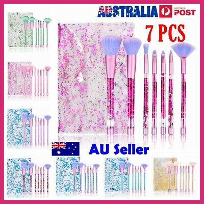 7PCS Unicorn Liquid Glitter Makeup Brushes Set Bag Foundation Cosmetic Powder