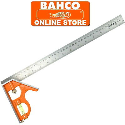 BAHCO 400mm COMBINATION SET SQUARE WITH SPIRIT LEVEL STAINLESS STEEL RULER CS400