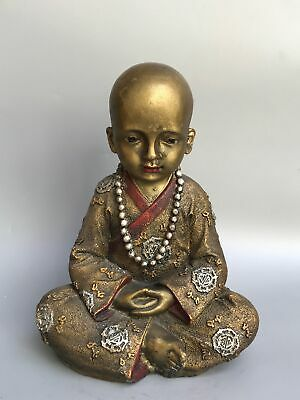"9"" Chinese old antique bronze Cloisonne handmade little monk Buddha statue"
