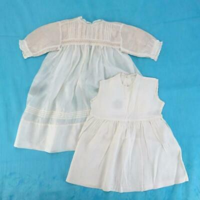 Antique 2pc Baby/Childs Silk & Lace Christening Gown Dress and Slip, Pre-1920