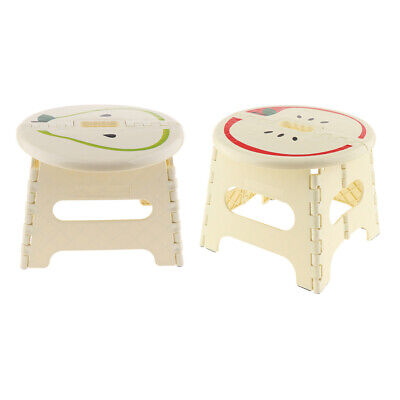 2 Folding Step Stool Foldable Kids Stool Seat for Home Travel Beige-S/L