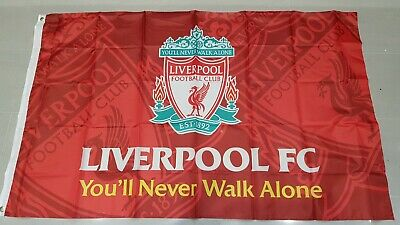 Liverpool Official Crest Jumbo Flag - You'll Never Walk Alone -  6 ft x 5 ft