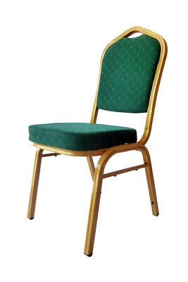 Shield Back Steel Banqueting Chairs. Green With Gold Frame