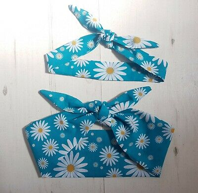 Turquoise Daisy Mum and Baby Matching Head Scarf Set - Retro 1950s Pin Up Blue