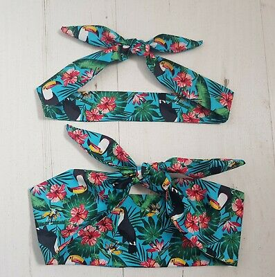 Turquoise Toucan Mum and Baby Matching Head Scarf Set - Retro Tropical Hair Bird