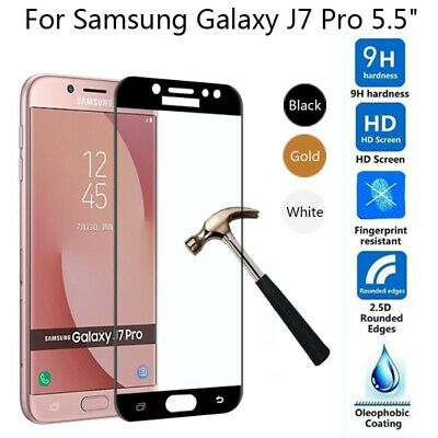 Full Coverage Tempered Glass Screen Protector For Samsung Galaxy J7 Pro / Max