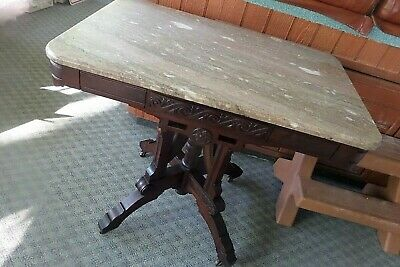 Antique American Eastlake Victorian Marble Top Parlor Side Table
