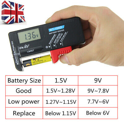 Digital LCD Battery Tester Checker Fits 9V 1.5V AA AAA Cell C D Batteries
